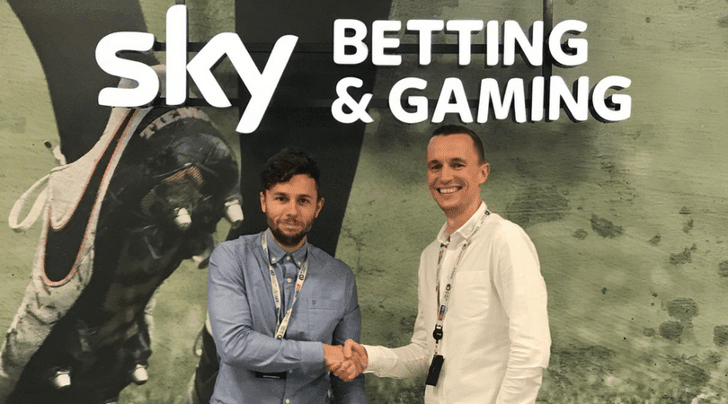 Joe Rolfe and his manager Matthew Taylor at the Sky Betting and Gaming office