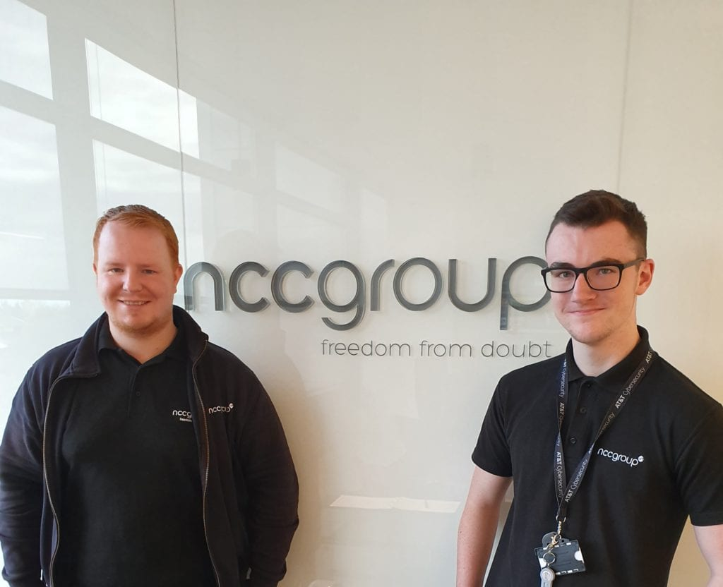 James King and Ross Inman at the NCC Group offices in Leeds