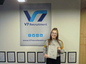 Rebecca Andrew at V7 Recruitment office in Manchester